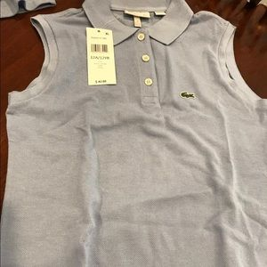 NWT Lacoste Girls Sleeveless Polo Shirt size 12Y